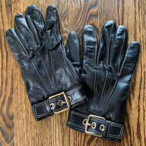 Coach Cashmere Lined Black Leather Women's Gloves